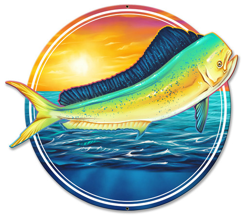 Dolphin Fish Metal Sign 18 x 15 Inches