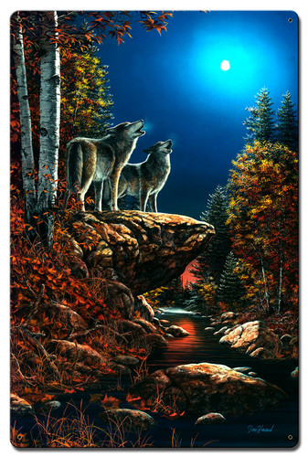 Wolf Duet Metal Sign 16 x 24 Inches