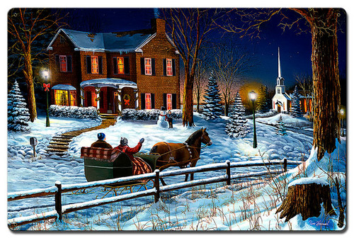 Home For Holidays Metal Sign 24 x 16 Inches
