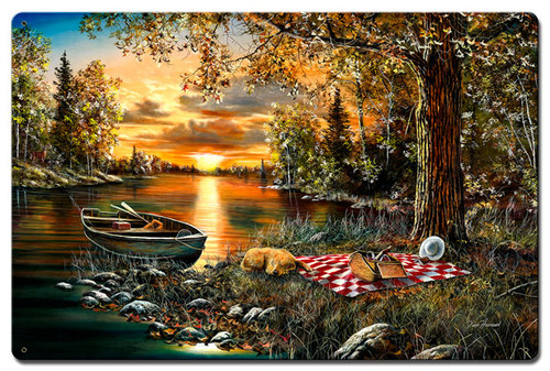 Lakeside Rendezvous Metal Sign 24 x 16 Inches