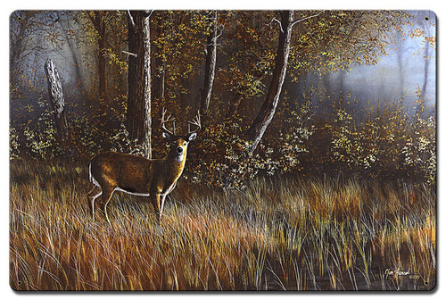 Morning Whitetail Deer Metal Sign 24 x 16 Inches