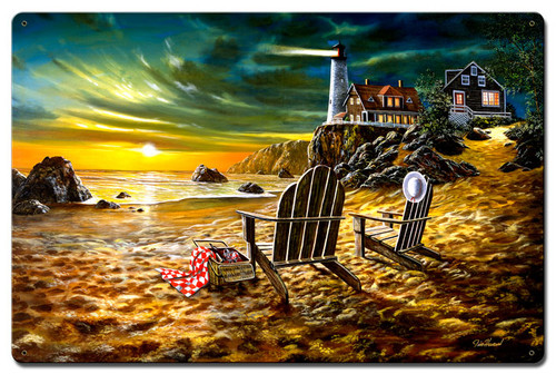 Seaside Rendezvous Metal Sign 16 x 24 Inches