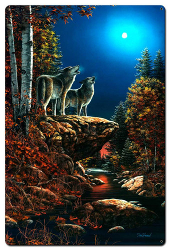 Wolf Duet Metal Sign 24 x 36 Inches