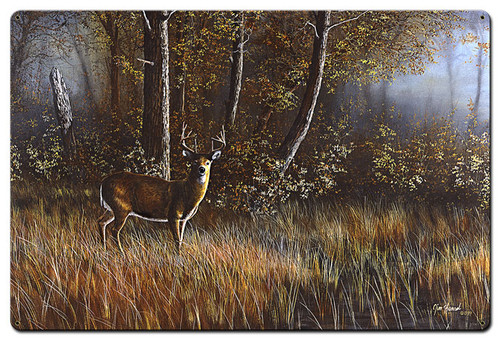 Morning Whitetail Deer Metal Sign 36 x 24 Inches