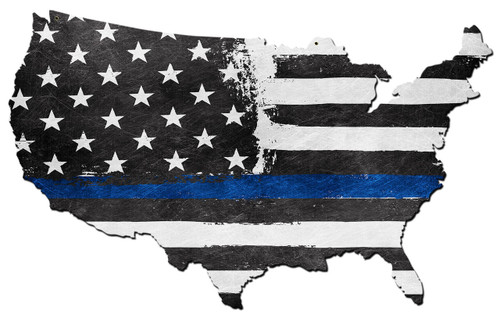 Usa Map Thin Blue Line Metal Sign 25 x 16 Inches