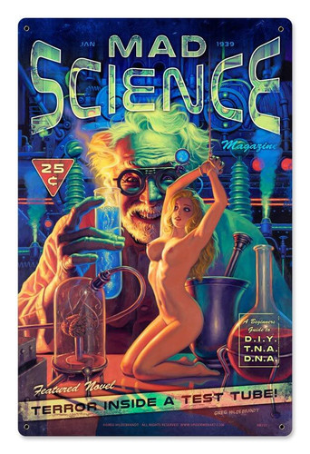 Mad Science Magazine Metal Sign 12 x 18 Inches