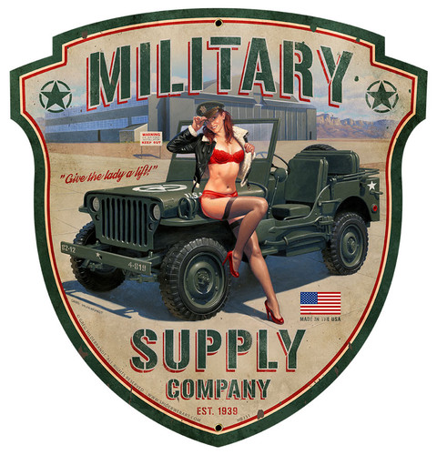 Military Supply Shield Metal Sign 15 x 16 Inches