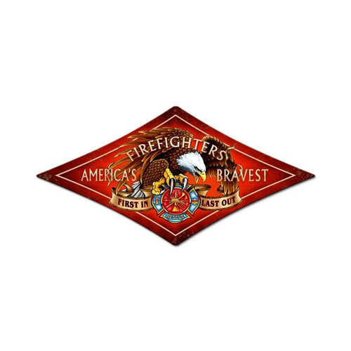 Fire Fighter Metal Sign 14 x 24 Inches