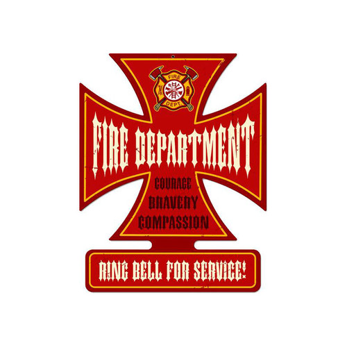 Fire Department Metal Sign 18.5 x 14.5 Inches