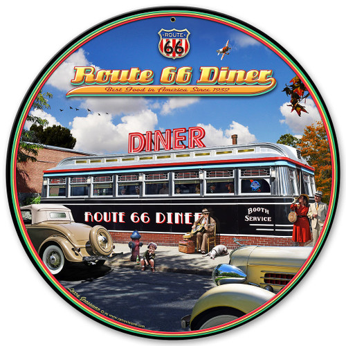 1936 Route 66 Diner Metal Sign 14 x 14 Inches