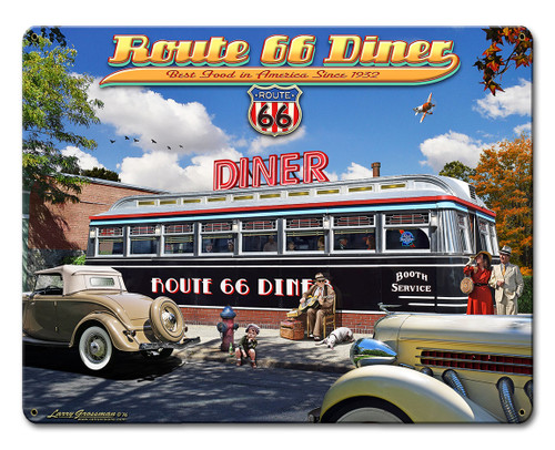 1936 Route 66 Diner Metal Sign 12 x 15 Inches