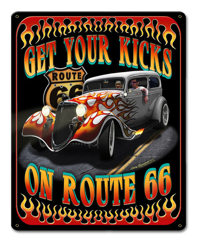 Kicks On Rt 66 Metal Sign 12 x 15 Inches