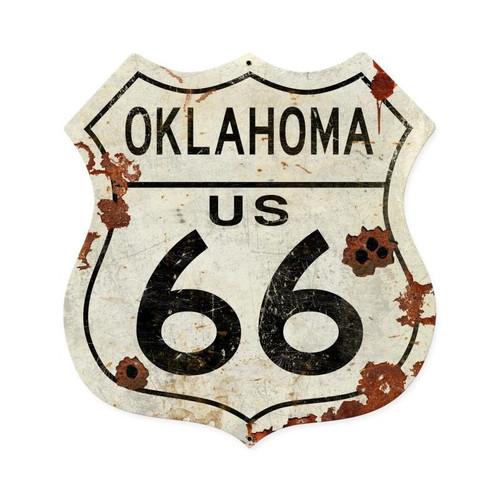Oklahoma Us 66 Shield Vintage  Metal Sign 15 x 15 Inches