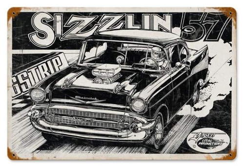 Retro Sizzlin 57 Metal Sign 18 x 12 Inches
