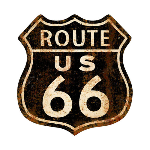 Route 66 Rusty Metal Sign 15 x 15 Inches