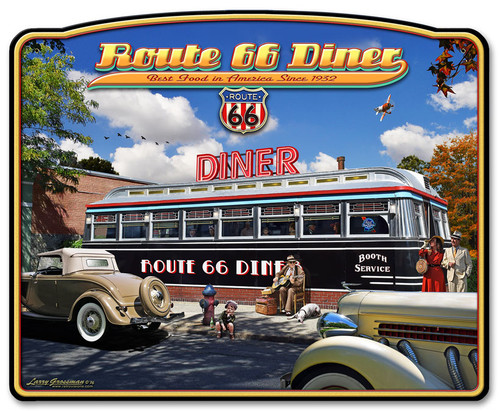 1936 Route 66 Diner Metal Sign 23 x 28 Inches