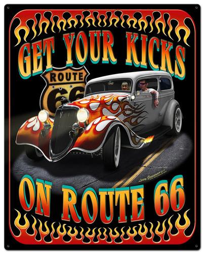 Kicks On Rt 66 Metal Sign 24 x 30 Inches