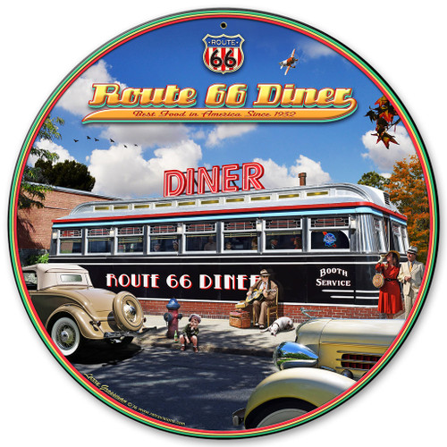1936 Route 66 Diner Metal Sign 28 x 28 Inches