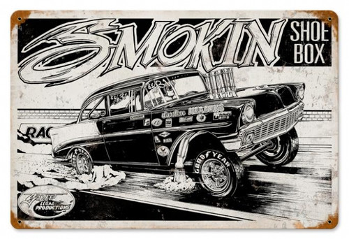 Retro Smokin Shoebox Metal Sign 18 x 12 Inches