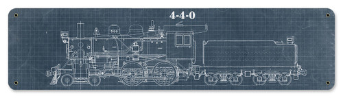 Train Blue Print 4-4-0 Metal Sign 20 x 5 Inches