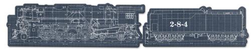 Train Blue Print Metal Sign 34 x 6 Inches
