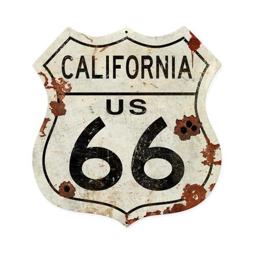 California Us 66 Shield Vintage Plasma Metal Sign 15 x 15 Inches