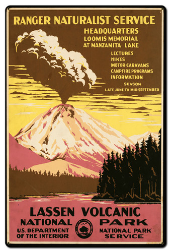 Lassen Volcanic Park Service Metal Sign 24 x 36 Inches