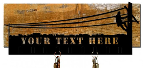Lineman Key Holder Cut Out Metal With Wood Backing - Personalized 9 x 22 Inches