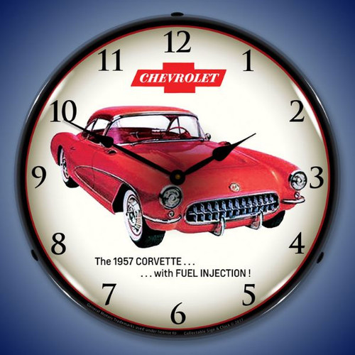 1957 Corvette Fuel Injection Lighted Wall Clock 14 x 14 Inches