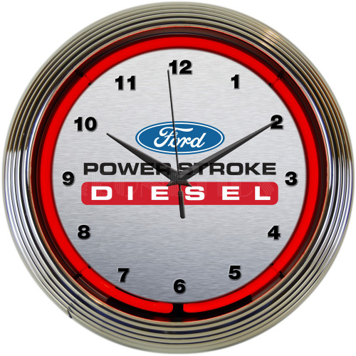 Ford Power Stroke Diesel Neon Clock 15 X 15 Inches
