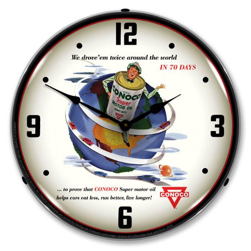 Conoco Super Motor Oil  Lighted Wall Clock 14 x 14 Inches