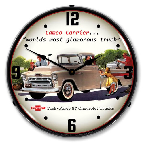 1957 Chevrolet Cameo Truck Lighted Wall Clock 14 x 14 Inches