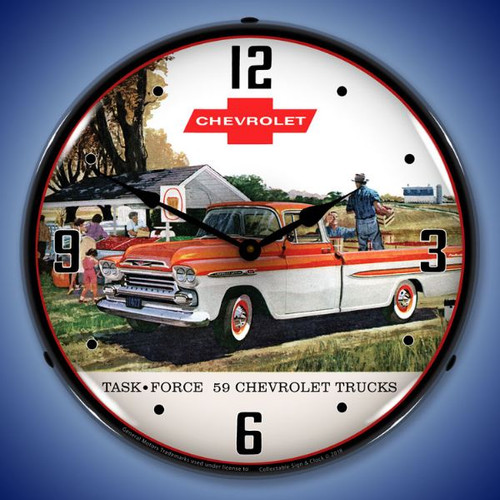1959 Chevrolet Task Force Truck Lighted Wall Clock 14 x 14 Inches