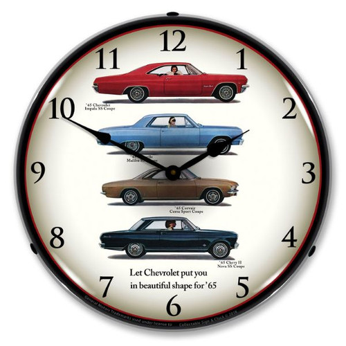 1965 Chevrolet Lineup Lighted Wall Clock 14 x 14 Inches