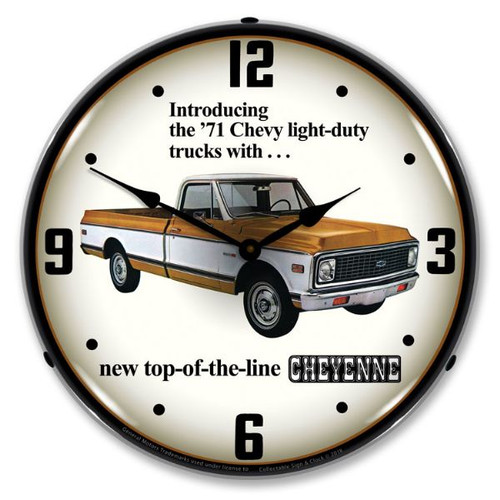 1971 Chevrolet Truck  Lighted Wall Clock 14 x 14 Inches
