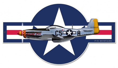 P-51 Mustang Metal Sign 30 x 17 Inches