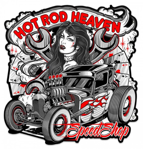 Hot Rod Heaven Metal Shape 24 x 25 Inches