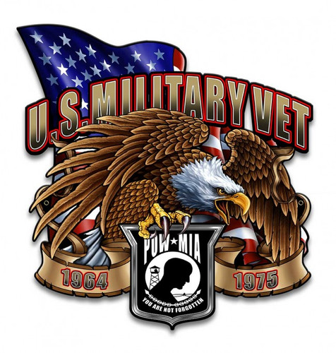 US Military Vet Eagle Metal Sign 14 x 14 Inches
