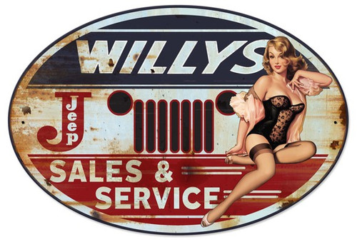 Willy's Sales and Service Pinup Girl Metal Sign 30 x 20 Inches