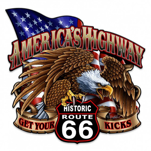 America's Highway Route 66 Metal Sign 18 x 18 Inches
