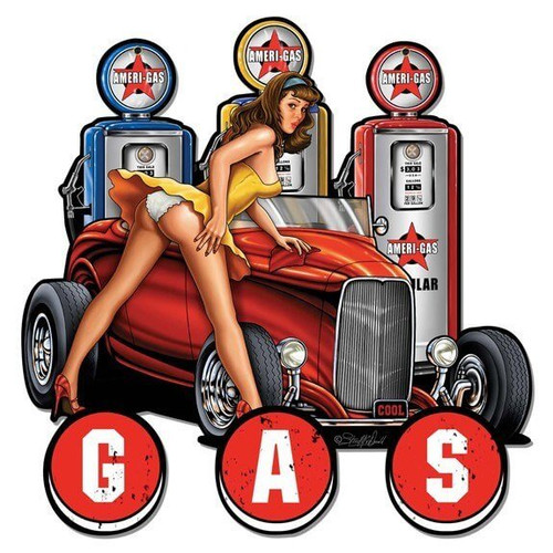 Gas Pump Pinup Hot Rod Metal Sign 18 x 18 Inches
