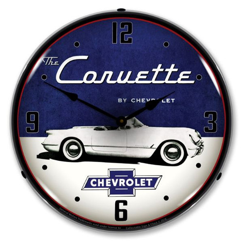 1954 Corvette Lighted Wall Clock 14 x 14 Inches