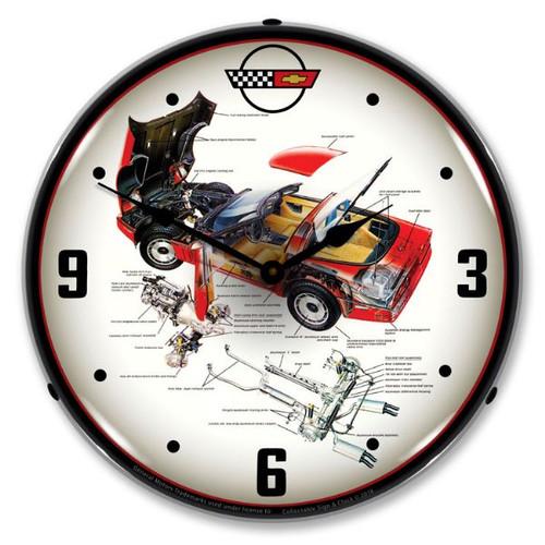 C4 Corvette Tech Lighted Wall Clock 14 x 14 Inches