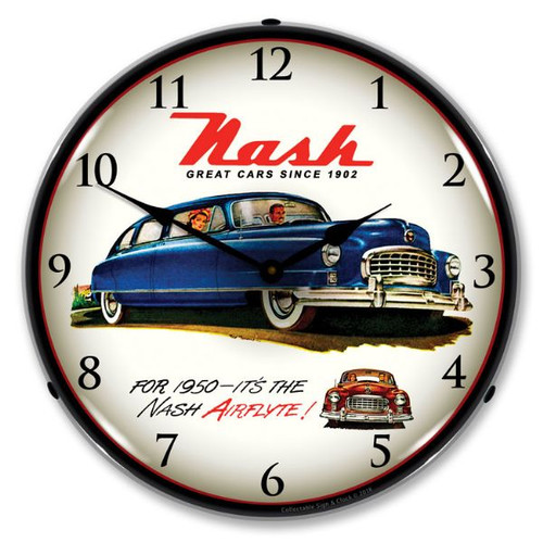 1950 Nash Lighted Wall Clock 14 x 14 Inches