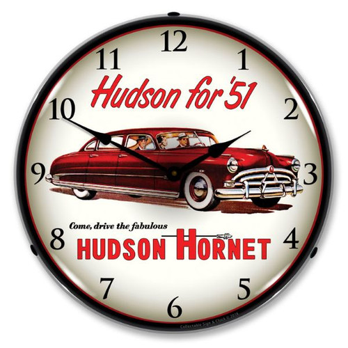 1951 Hudson Hornet Lighted Wall Clock 14 x 14 Inches
