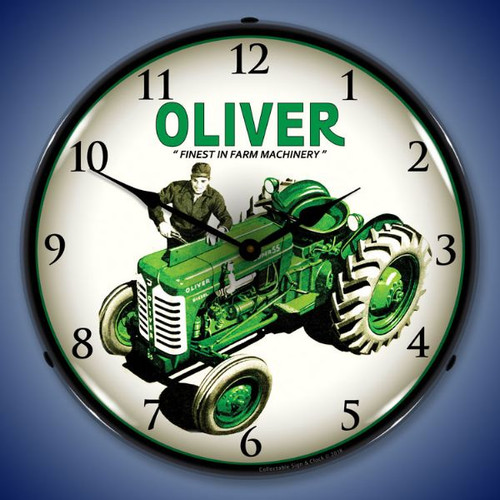 Oliver Super 55 Farm Tractor Lighted Wall Clock 14 x 14 Inches