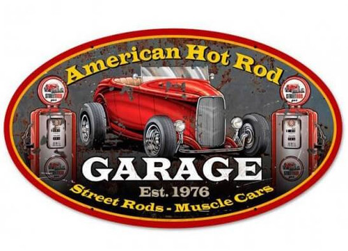 American Hot Rod Oval Metal Sign 24 x 14 Inches