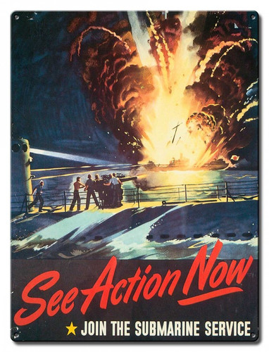 See Action Submarine Service Metal Sign 12 x 16 Inches