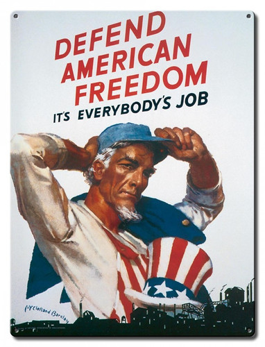 Defend America Uncle Sam Metal Sign 12 x 16 Inches