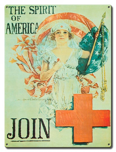 Join Red Cross Metal Sign 12 x 16 Inches